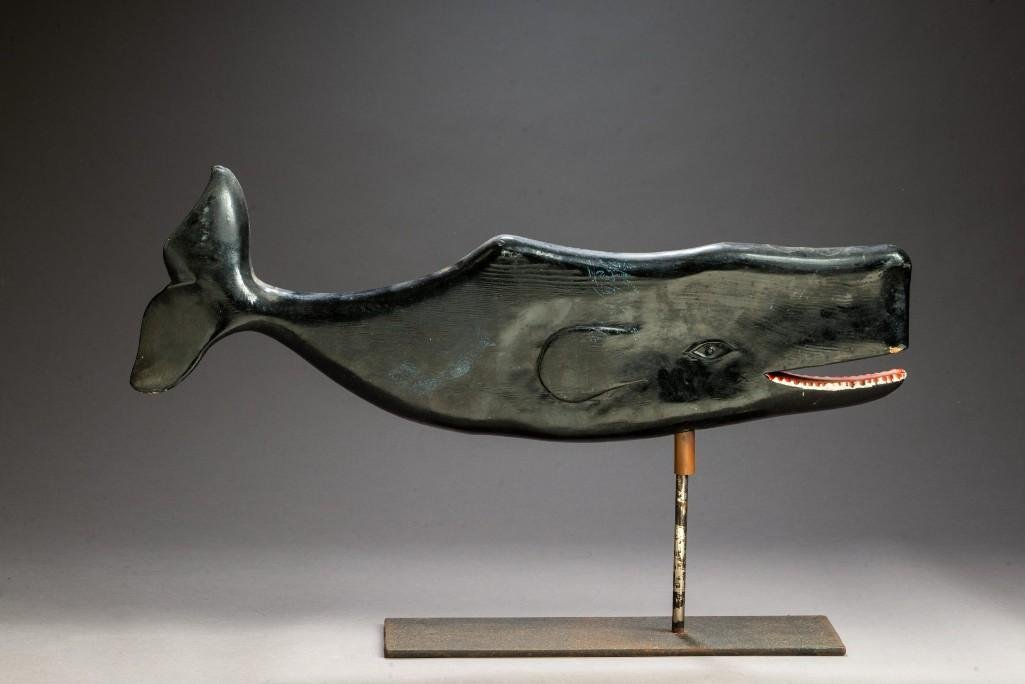 Folk Art Carved Whale Weathervane.