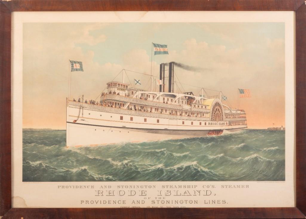 Large Folio Currier & Ives: Steamer Rhode Island.