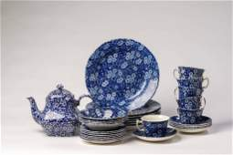 Group of Staffordshire Calico Blue Wares