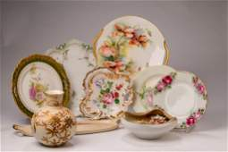 Group of Floral Decorated Ceramic Pieces.