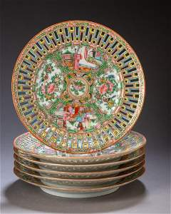 Set of Six Chinese Rose Medallion Reticulated Plates.