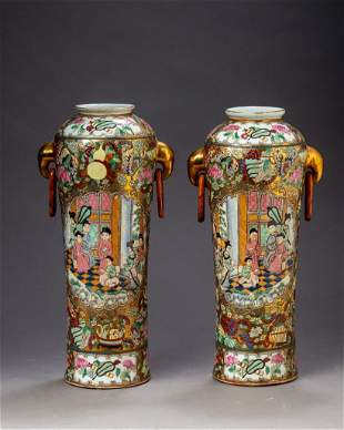 Near Pair of Chinese Famille Rose Two-Handled Vases.