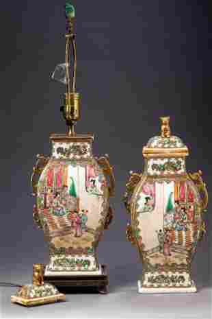 Pair of Chinese Bird and Butterfly Urns.