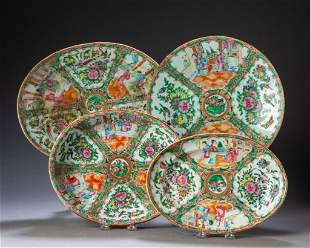 Four Chinese Rose Medallion Platters.