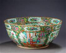 Exceptionally Large Chinese Rose Medallion Punch Bowl