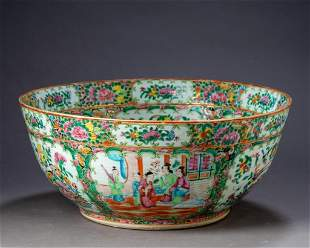 Exceptionally Large Chinese Rose Medallion Punch Bowl.