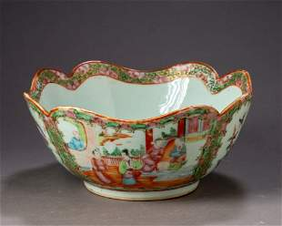 Chinese Rose Medallion Bowl With Scalloped Edge.