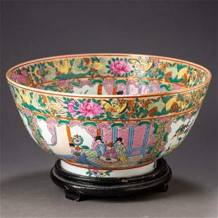 """Chinese Porcelain """"Bird and Butterfly"""" Punch Bowl."""