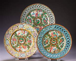 Three Chinese Rose Medallion Reticulated Plates.
