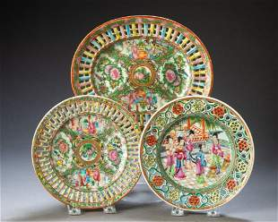 Three Chinese Export Porcelain Reticulated Pieces.