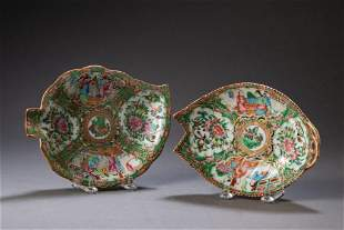 Two Chinese Export Rose Medallion Leaf Dishes.