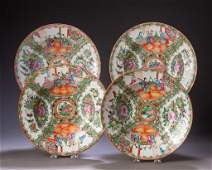 Four Chinese Export Porcelain Rose Medallion Bowls