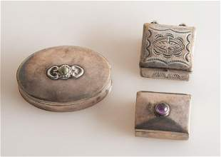 Three Small Mexican Sterling Boxes.
