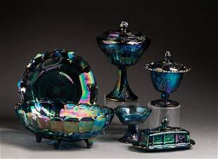 Grouping of Grape and Cable Style Carnival Glass.