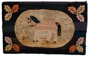 Folk Art Hooked Rug with Horse.