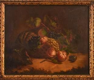 19th c. American School Fruit Still Life Painting