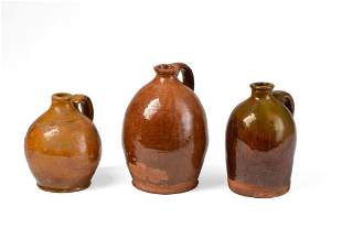 Three Small Redware Jugs.