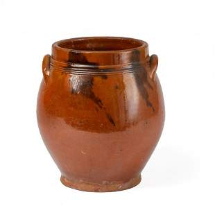 Redware Jar With Applied Loop Handles.