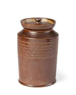 English Saltglaze Stoneware Jar and Cover, 19th