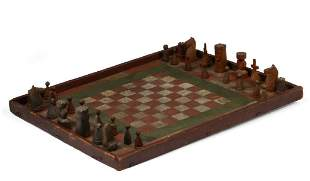 Chess Board in Red, Green and White Paint.