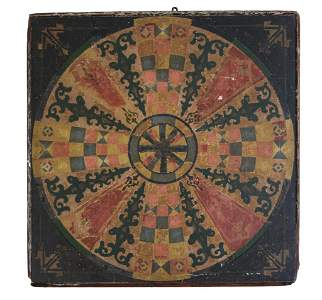 Unusual Victorian Painted Game Board.