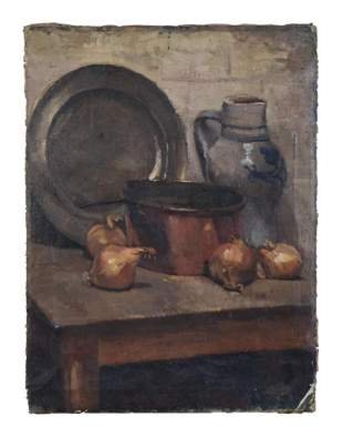 Still Life With Stoneware Pitcher and Pewter Charger.
