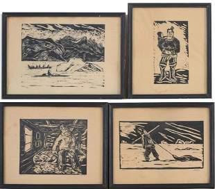 4 Inuit Woodblock Prints.