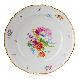 19th c. KPM Hand Painted Porcelain Floral Charger.