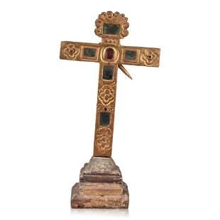 Spanish Colonial Gilt Wood Cross.