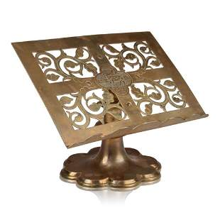 Gothic Revival Brass Book Stand.