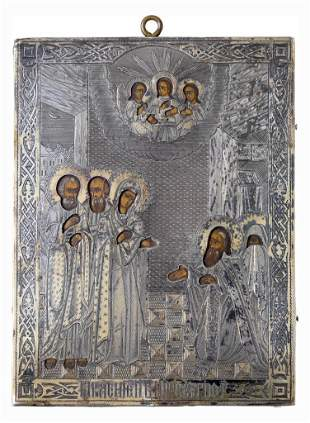 Russian Icon with Gilt Silver Oklad.