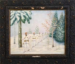 Folk Art Painting of WWII Military Ski Patrol.
