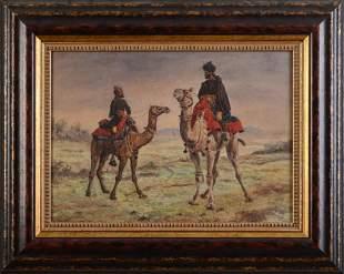 Nora Scott Orientalist Watercolor of Men on Camels.