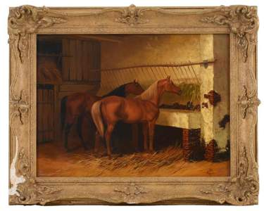 Kingsley S. Chalon Painting of Two Horses in Stable.