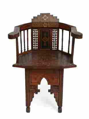 19th c. Syrian Inlaid Armchair.