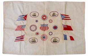 Nautical Embroidered Flag Panel.