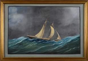 Antonio De Simone. Schooner Yacht in Gale.