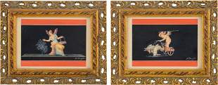 Pair of Italian Gouache Paintings Signed A. Bisogno.