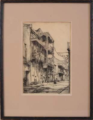 "Earl Horter ""Balconies New Orleans"" Etching."