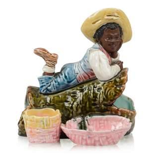 African American Figural Majolica Smoking Set.