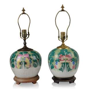 Two Similar Chinese Cabbage Leaf Jar Lamps.