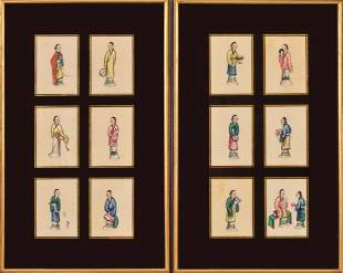 12 Chinese Pith Paper Paintings of Court Ladies.