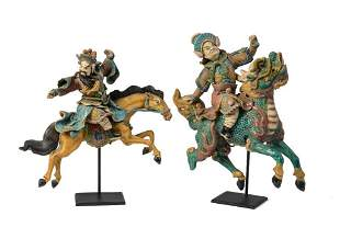 Pair of Chinese Ceramic Warriors on Horseback.