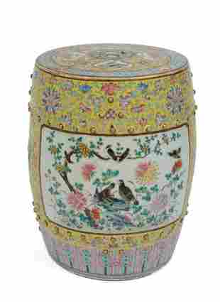 19th c. Chinese Famille Rose Garden Seat.