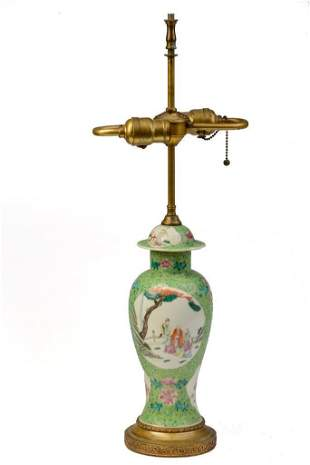 Chinese Green Ground Famille Rose Lamp.