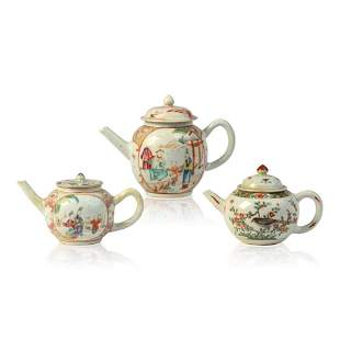 Three 18th c. Chinese Famille Rose Teapots.