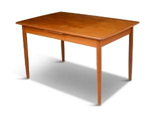 Danish Modern Extendable Teak Dining Table.