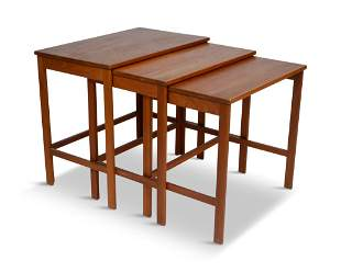 Three John Stewart Danish Modern Nesting Tables.