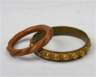 Two African Brass and Wood Tribal Anklets.