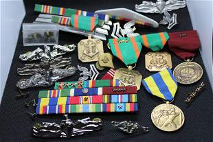 Large Lot of Navy & Army Pins, Medals and Badges.